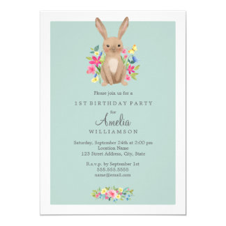 Sweet Floral Bunny First Birthday Invitation