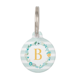 Sweet Floral Monogram Pet Tags