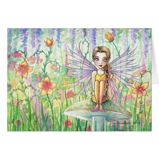 Sweet Flower Fairy on Mushroom Card ~ Blank