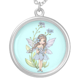 Sweet Forget Me Not Flower Fairy Necklace