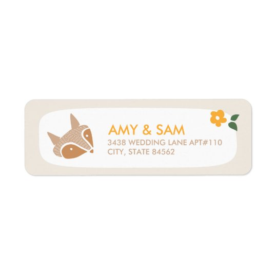 Sweet fox wedding return address label