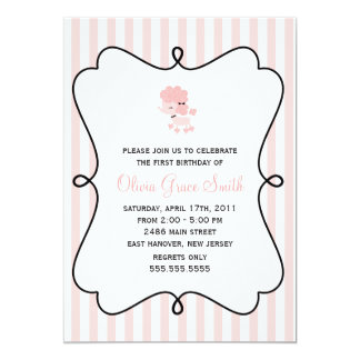 Sweet French Poodle Girls Birthday Party Card