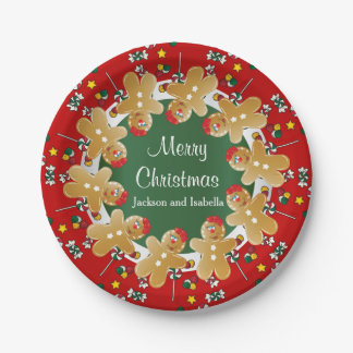 Sweet Gingerbread Christmas Paper Plate