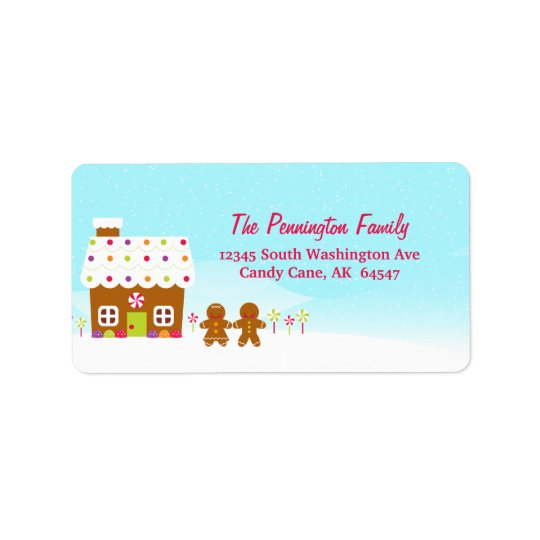 Sweet gingerbread house holiday address label