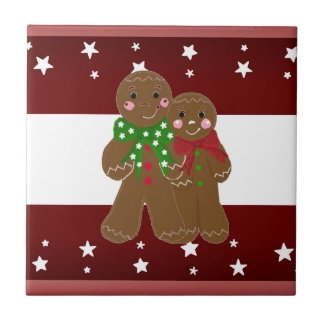 Sweet Gingerbread Men Small Square Tile