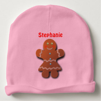 Sweet Gingerbread Woman In Party Dress Baby Beanie