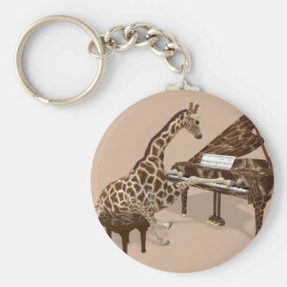 Sweet Giraffe Loves To Play Piano Basic Round Button Key Ring