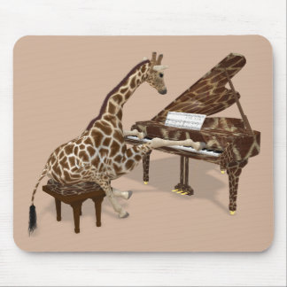 Sweet Giraffe Loves To Play Piano Mouse Pad
