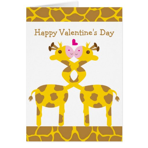 Sweet Giraffes in Love Happy Valentines Day Card