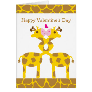 Sweet Giraffes in Love Happy Valentines Day Greeting Card