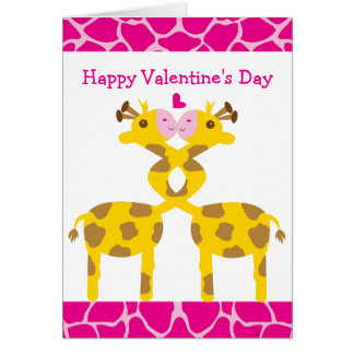 Sweet Giraffes in Love Pink Happy Valentines Day Card