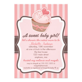 Sweet Girl Baby Shower Cupcake Pink Announcements