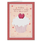 Sweet Girl - Happy Valentine's Day - Heart Cupcake Card