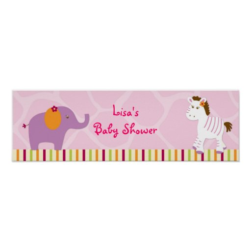 Sweet Girl Jungle Baby Shower Banner Sign Posters