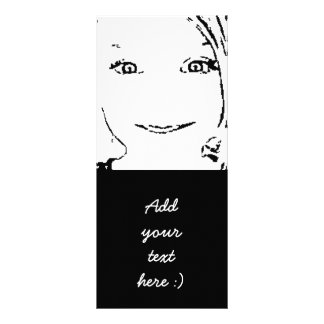 Sweet Girl Portrait Bright Eyes, Black and White Personalized Rack Card