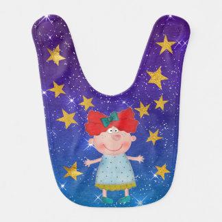 Sweet Girl Shiny Stars Stripes Gold Baby Bib