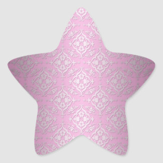Sweet Girly Floral Damask Pattern in Pink Star Sticker
