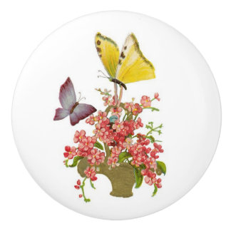 Sweet girly pink flowers with butterflies ceramic knob