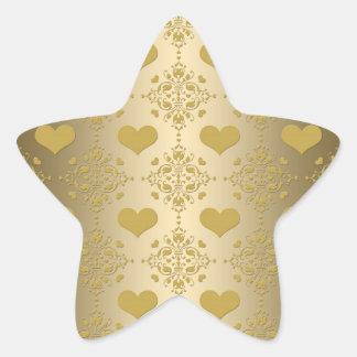 Sweet Gold Hearts Damask Pattern Star Sticker