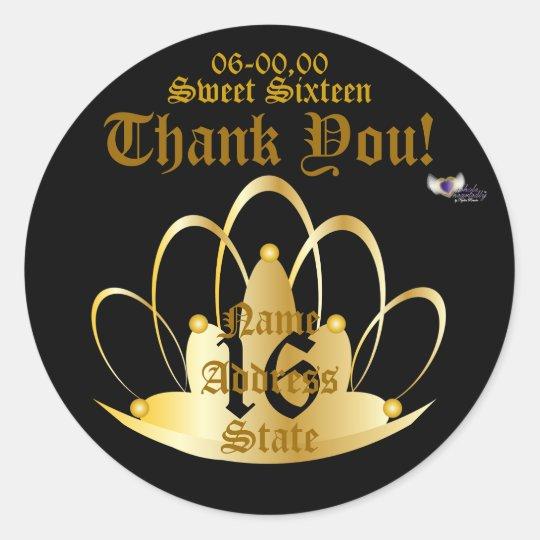 Sweet Golden Tiara Sticker-Customise Classic Round Sticker