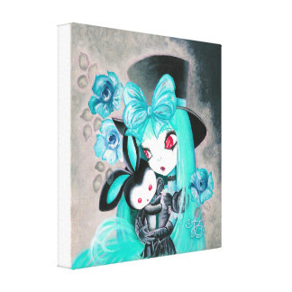 Sweet Goth Girl With Pet Bunny Canvas Print