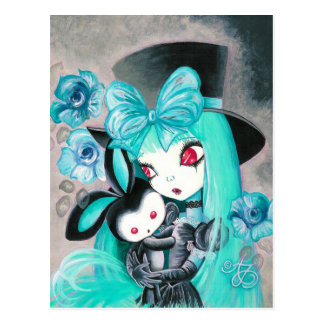 Sweet Gothic Girl With Bunny Postcard