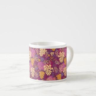Sweet grape vines pattern background espresso cup
