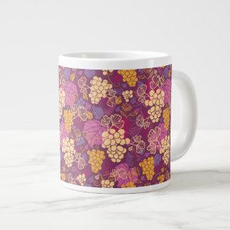 Sweet grape vines pattern background large coffee mug