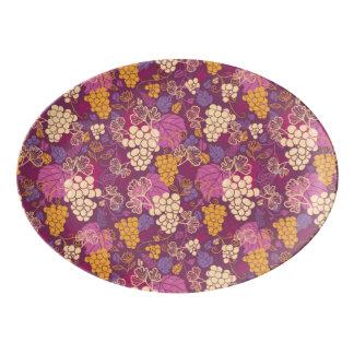 Sweet grape vines pattern background porcelain serving platter
