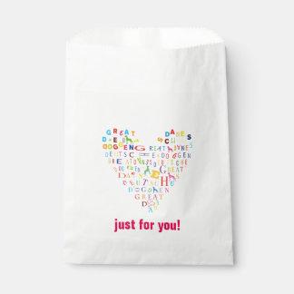 Sweet Great Dane heart Favour Bags