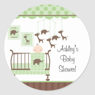 Sweet Green Baby Room Baby Shower Sticker