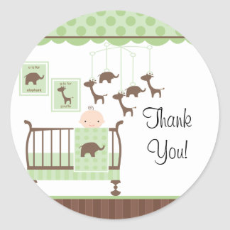 Sweet Green Baby RoomThank You Sticker