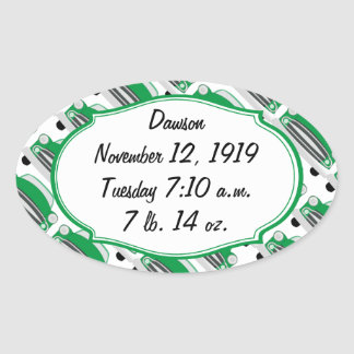 Sweet Green Retro Car Baby Shower Announcement Oval Sticker