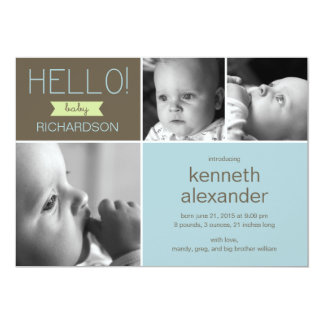 Sweet Greeting Baby Photo Birth Announcement