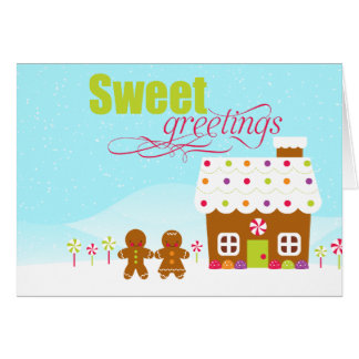 Sweet greeting gingerbread house holiday card