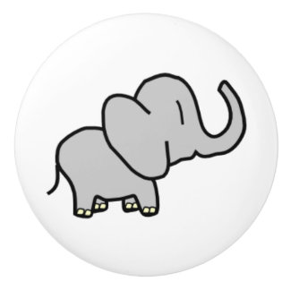 Sweet Grey Elephant in a child-like drawn style Ceramic Knob