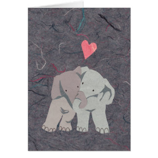 Sweet Grey Elephants in Love for Valentine's Day Card