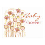 Sweet Groovy Blooms Baby Shower Postcards