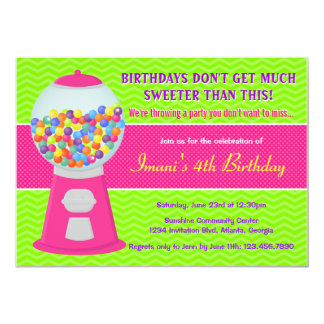 Sweet Gumball Candy Birthday Party 13 Cm X 18 Cm Invitation Card
