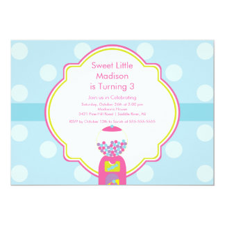 Sweet Gumball Candy Birthday Party Invitation
