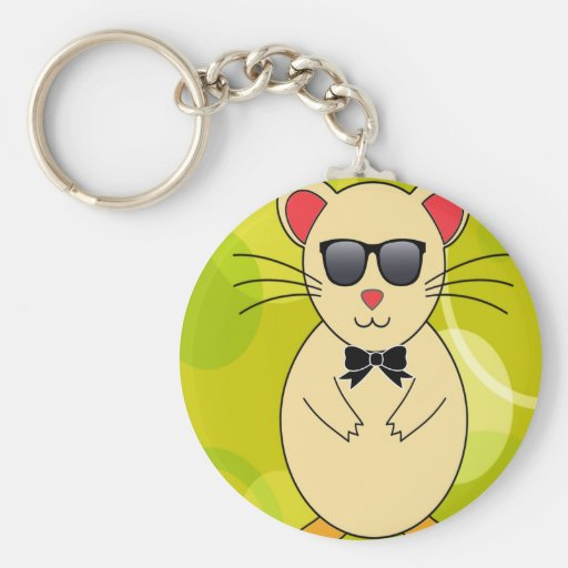 Sweet Hamster with Sunglasses and Ribbon Bow Key Chains