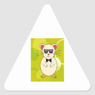 Sweet Hamster with Sunglasses and Ribbon Bow Triangle Sticker