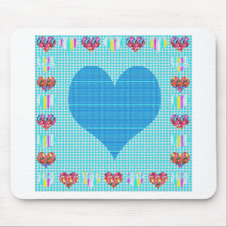 Sweet Heart Blue Mouse Pad