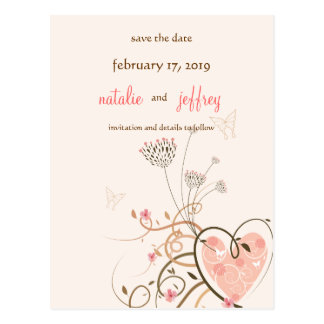 Sweet Heart & Butterfly Swirls Save The Date Card Postcard