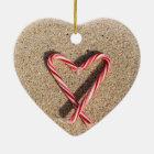 Sweet Heart Candy Cane Beach Christmas Ornament