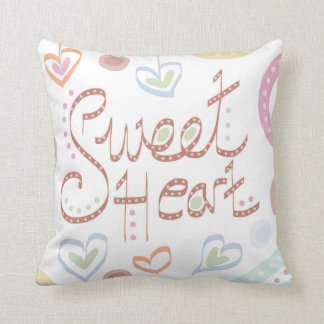 Sweet Heart. Colourful cushion in pastel colours