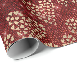 Sweet Heart Honey Burgundy Red Gold Sparkly Wrapping Paper