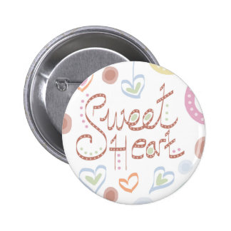 Sweet Heart. Pastel colourful text and print. 6 Cm Round Badge