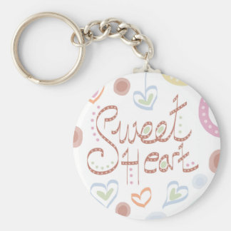 Sweet Heart. Pastel colourful text and print. Basic Round Button Key Ring