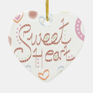 Sweet Heart. Pastel colourful text and print. Ceramic Heart Decoration